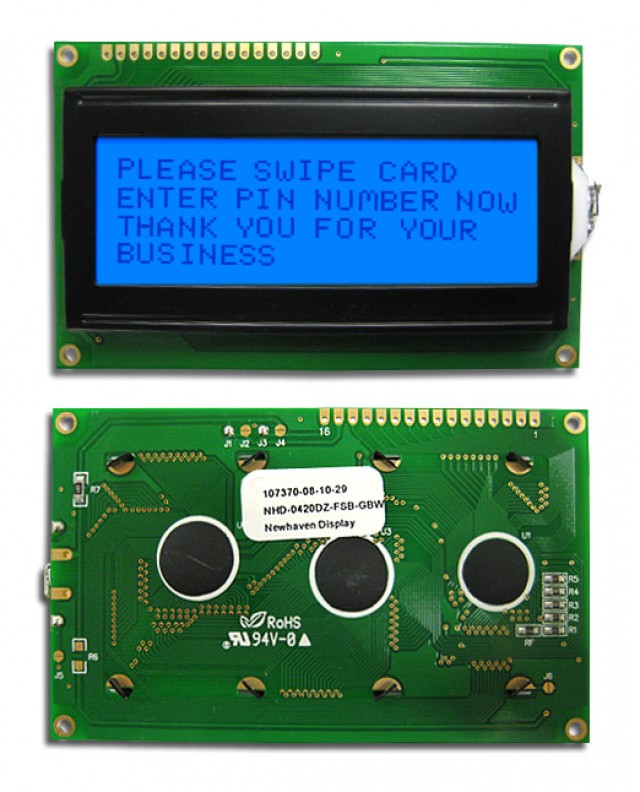 Newhaven NHD-0420DZ-FSB-GBW Newhaven 4 x 20 Characters Transflective LCD Character Display Using 8-Bit Parallel Interface and 1x16 Top Connector. (Product Image)