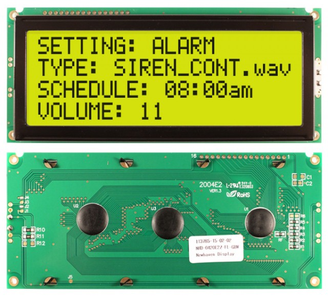 Newhaven Display NHD-0420E2Z-FL-GBW Newhaven 4 x 20 Characters Transflective LCD Character Display @ 5V and 8-Bit Parallel Interface with 1x16 Top Connector and KS0066U Controller. PN - NHD-0420E2Z-FL-GBW (Product Image)