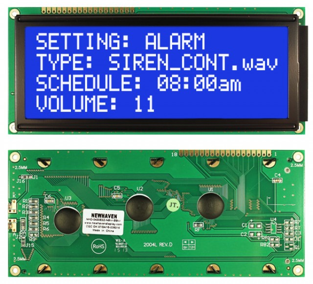 Newhaven NHD-0420E2Z-NSW-BBW Newhaven 4 x 20 Characters Transmissive LCD Character Display @ 5V and 8-Bit Parallel Interface with 1x16 Top Connector and KS0066U Controller. PN - NHD-0420E2Z-NSW-BBW (Product Image)