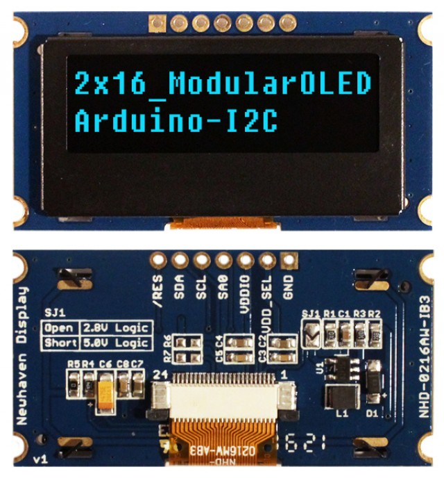 Newhaven NHD-0216AW-IB3 Newhaven 2 x 16 Blue 2 x 16 Modular Character OLED; I2C MPU Interface @ 2.4-5V and I2C Interface with 1 x 7 Connector and US2066 Controller. PN - NHD-0216AW-IB3 (Product Image)