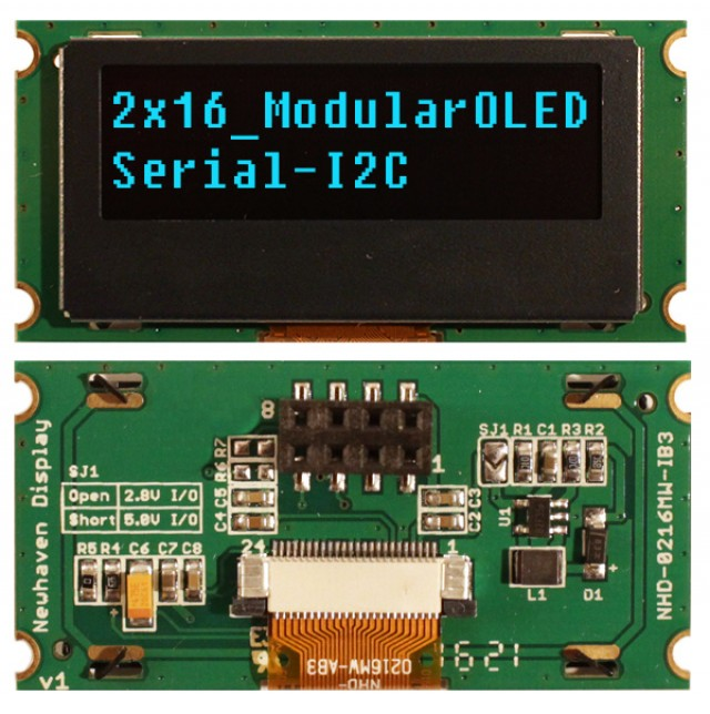 Newhaven NHD-0216MW-IB3 Newhaven 2 x 16 Blue 2 x 16 Modular Character OLED; I2C MPU Interface @ 2.4-5V and I2C Interface with 1 x 8 Connector and US2066 Controller. PN - NHD-0216MW-IB3 (Product Image)