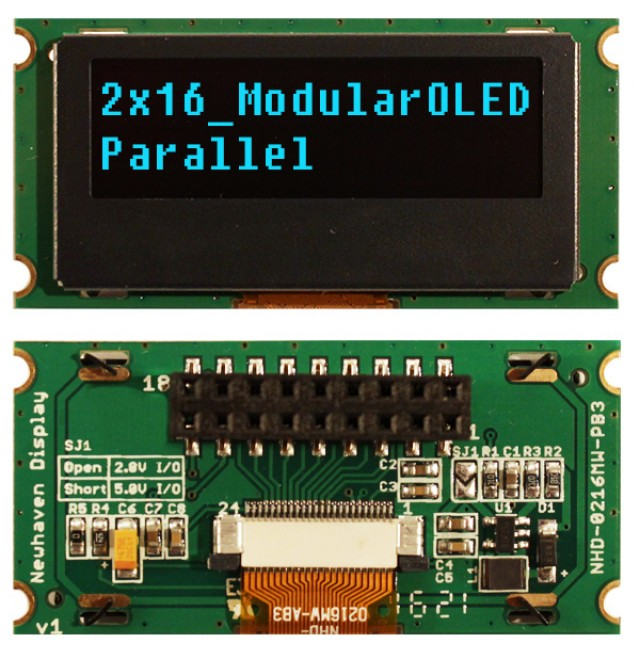 Newhaven NHD-0216MW-PB3 Newhaven 2 x 16 Blue 2 x 16 Modular Character OLED, Parallel MPU Interface Using Parallel Interface and 4/8-Bit Parallel Connector. (Product Image)
