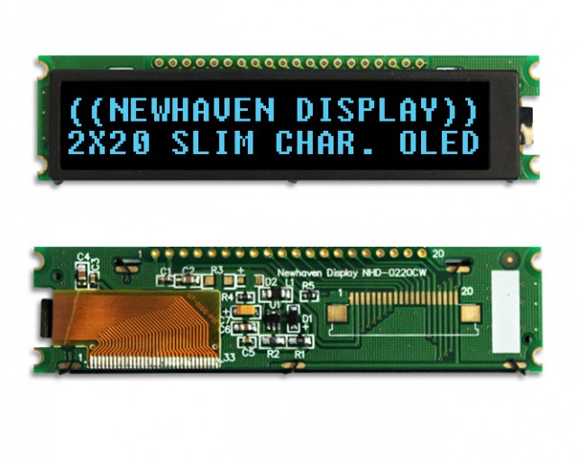 Newhaven NHD-0220CW-AB3 Newhaven 2x20 Blue 2x20  Blue Slim Character OLED Using 4/8-bit Parallel, SPI, I2C Interface and 1 x 20 Top Connector. (Product Image)