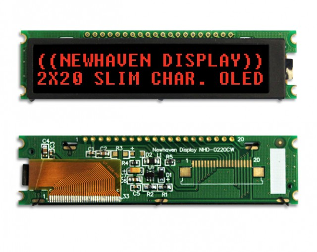 Newhaven Display NHD-0220CW-AR3 Newhaven 2x20 Red 2x20  Red Slim Character OLED @ 2.4V ~5.5V and 4/8-bit Parallel; SPI; I2C Interface with 1 x 20 Top  Connector and US2066 Controller. PN - NHD-0220CW-AR3 (Product Image)