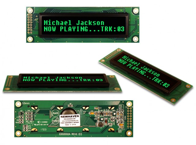 Newhaven NHD-0220DZW-AG5 Newhaven 2 x 20 Green  Character OLED Using Parallel / 3 wire SPI Interface and 1 x 16 Left Connector. (Product Image)