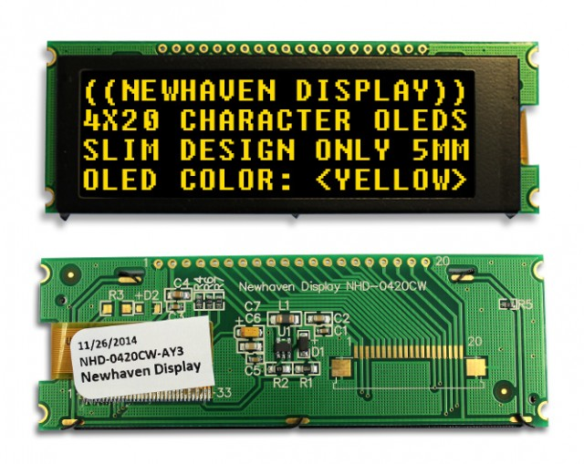 Newhaven Display NHD-0420CW-AY3 Newhaven 4x20 Yellow 4x20  Yellow Slim Character OLED @ 2.4V ~5.5V and 4/8-bit Parallel; SPI; I2C Interface with 1 x 20 Top  Connector and US2066 Controller. PN - NHD-0420CW-AY3 (Product Image)