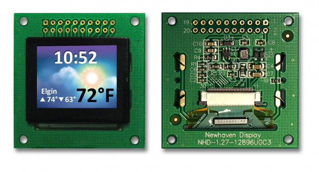 Newhaven NHD-1.27-12896UGC3 Newhaven 128x96 18-bit/ 262K Full Color OLED @ 3V and Serial/Parallel Interface with 2 x 10 Top Connector and SSD1351 Controller. PN - NHD-1.27-12896UGC3 (Product Image)
