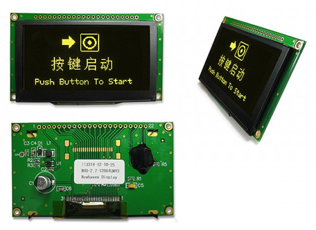 Newhaven NHD-2.7-12864UMY3 Newhaven 128 x 64 pixels Yellow 2.7 Yellow Multi-Font Graphic OLED Using 8-bit Parallel/SPI Interface and 1 x 20 Top Connector. (Product Image)