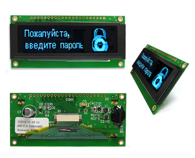 Newhaven NHD-2.8-25664UMB3 Newhaven 256 x 64 pixels Blue 2.8 Blue Multi-Font Graphic OLED Using 8-bit Parallel/3-wire SPI or 4-wire SPI Interface and 1 x 20 Top Connector. (Product Image)