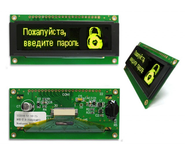 Newhaven NHD-2.8-25664UMY3 Newhaven 256 x 64 pixels Yellow 2.8 Yellow Multi-Font Graphic OLED Using 8-bit Parallel/3-wire SPI or 4-wire SPI Interface and 1 x 20 Top Connector. (Product Image)