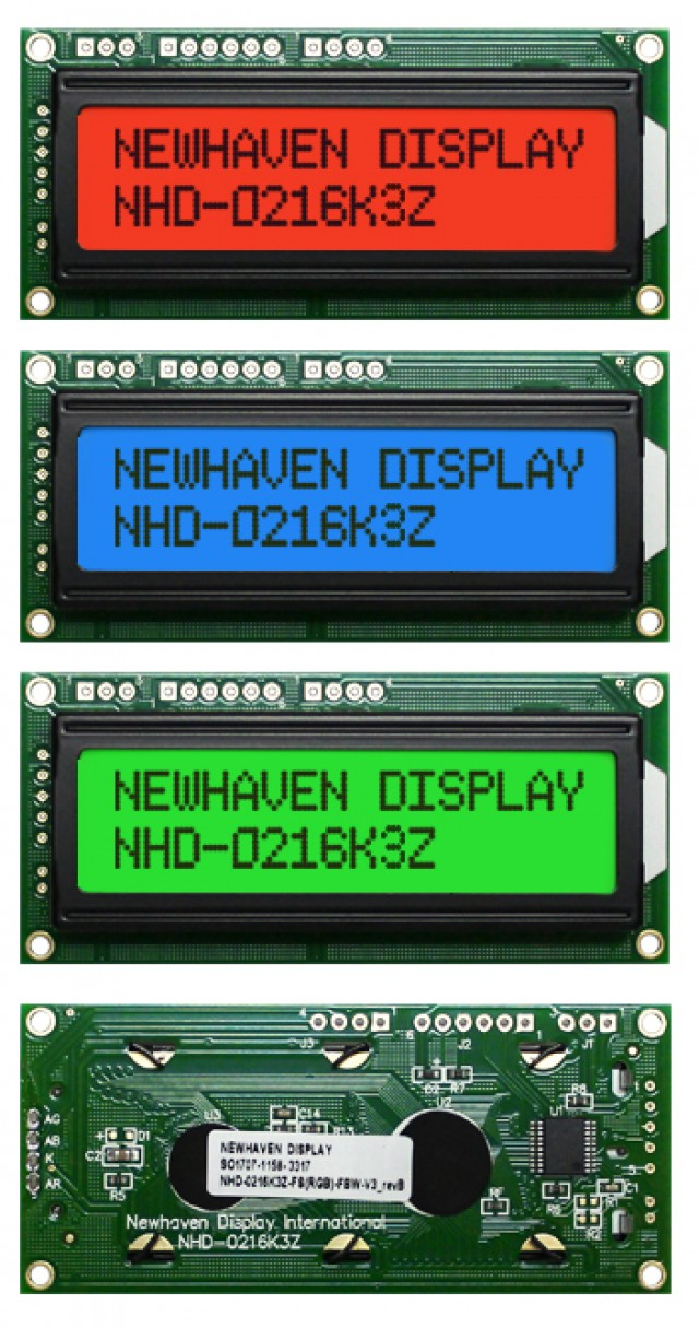 Newhaven NHD-0216K3Z-FS(RGB)-FBW-V3 Newhaven 2 x 16 Characters Transflective RGB Serial LCD @ 5V and I2C; RS232; SPI Interface with TOP 3; 6; 5 Pins Connector and PIC 16F690 Controller. PN - NHD-0216K3Z-FS(RGB)-FBW-V3 (Product Image)