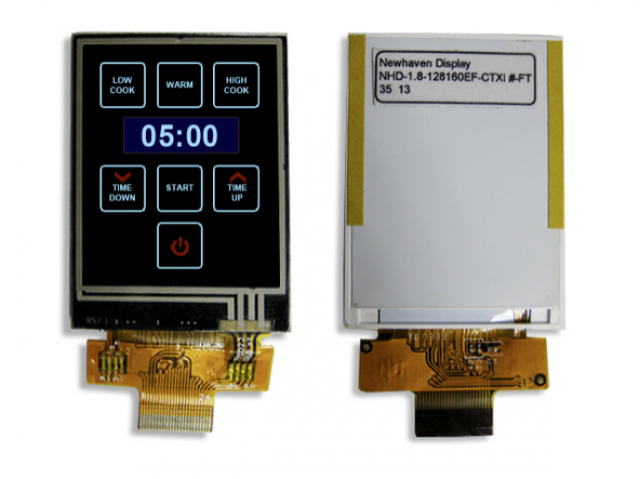 Newhaven NHD-1.8-128160EF-CTXI#-FT Newhaven 128 x 160 Pixels Transmissive LCD TFT w/touch panel @ 2.8V and 8-Bit Parallel Interface with 24-ZIF Connection Connector and ILI9163C Controller. PN - NHD-1.8-128160EF-CTXI#-FT (Product Image)