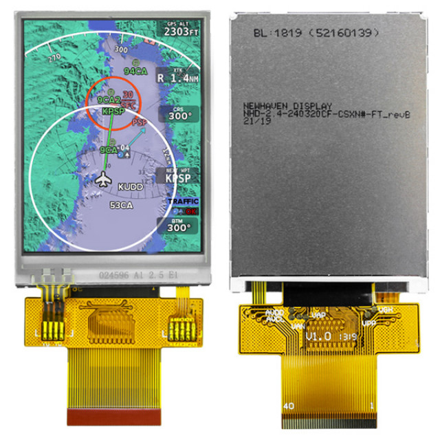 Newhaven NHD-2.4-240320CF-CSXN#-FT Sunlight Readable TFT: 240x320 Pixels, 3.3V, 8-bit or 16-bit Parallel MPU Interface, White High Brightness LED Backlight, 12:00, -20C to +70C,  4-Wire Resistive Touch, FFC ZIF I/O Connection, RoHS (Product Image)