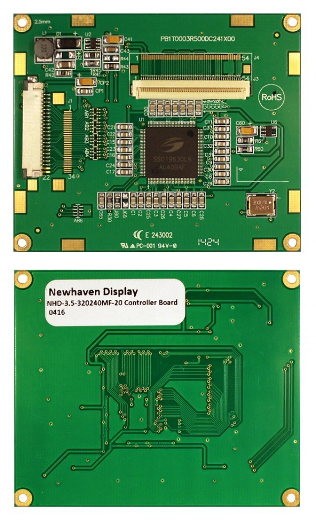 Newhaven Display NHD-3.5-320240MF-20 Digital controller board for 3.5in TFT displays. 3.3V input. 8-bit parallel MCU interface. (Product Image)