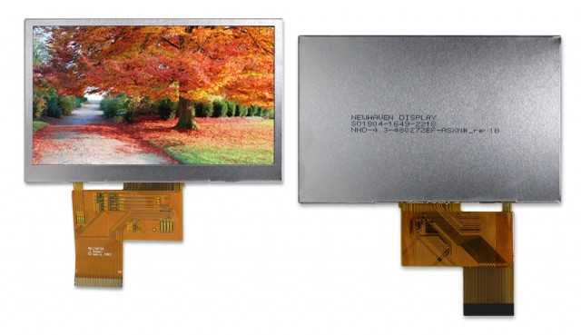 "Newhaven NHD-4.3-480272EF-ASXN# Newhaven 480x272 pixels Transmissive 4.3"" LCD TFT, sunlight readable Using 24-bit Parallel Interface and 40-Conductor FFC Connector. (Product Image)"