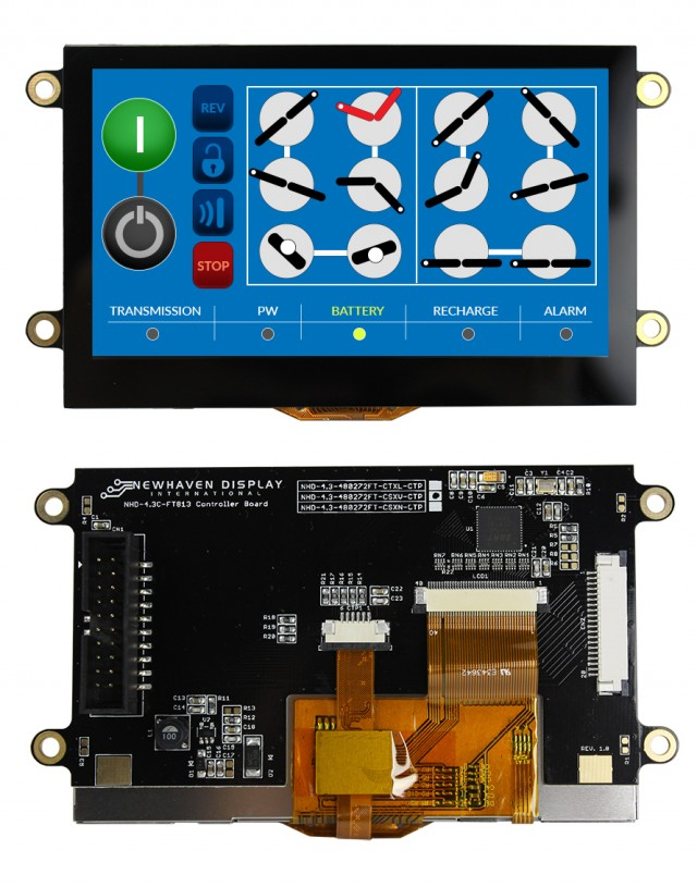 Newhaven NHD-4.3-480272FT-CSXV-CTP Newhaven 480x272 Transmissive 4.3(Inch) EVE2 TFT Prem. Module Cap. Touch @ 3.3 and SPI Interface Interface with (CN1): Male IDC Box Header; 20-pin; 2x10; 2.54mm pitch (CN2): Top-contact FFC Connector; 20-pin; 1.00mm pitch Connector and FT813 Controller. PN - NHD-4.3-480272FT-CSXV-CTP (Product Image)