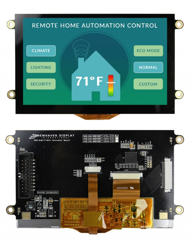 Newhaven Display NHD-5.0-800480FT-CTXL-CTP Newhaven 800x480 Transmissive 5(Inch) EVE2 TFT Prem. Module Cap. Touch @ 3.3 and SPI Interface Interface with (CN1): Male IDC Box Header; 20-pin; 2x10; 2.54mm pitch (CN2): Top-contact FFC Connector; 20-pin; 1.00mm pitch Connector and FT813 Controller. PN - NHD-5.0-800480FT-CTXL-CTP (Product Image)