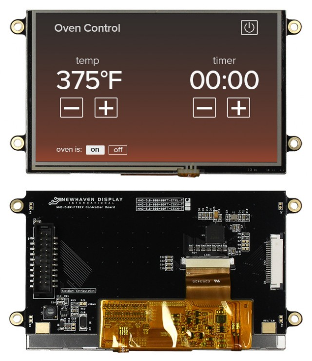 Newhaven Display NHD-5.0-800480FT-CTXL-T Newhaven 800x480 Transmissive 5(Inch) EVE2 TFT Prem. Module Res. Touch @ 3.3 and SPI Interface Interface with (CN1): Male IDC Box Header; 20-pin; 2x10; 2.54mm pitch (CN2): Top-contact FFC Connector; 20-pin; 1.00mm pitch Connector and FT812 Controller. PN - NHD-5.0-800480FT-CTXL-T (Product Image)