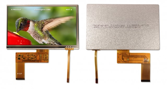 Newhaven Display NHD-7.0-800480EF-ASXN#-T Newhaven 800 x 480 Pixels Transmissive 7.0(Inch) Sunlight Readable TFT; Resistive Touch @ 3.3V and Parallel 24-Bit RGB Interface with 40-Pin FFC Connector and None Controller. PN - NHD-7.0-800480EF-ASXN#-T (Product Image)