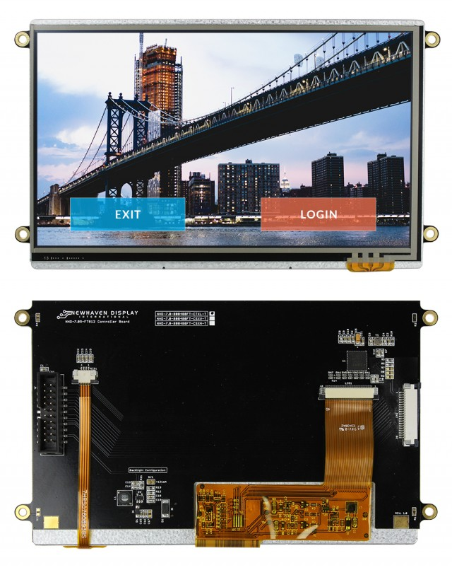 Newhaven NHD-7.0-800480FT-CTXL-T Newhaven 800x480 Transmissive 7(Inch) EVE2 TFT Std. Module Res Touch @ 3.3 and SPI Interface Interface with (CN1): Male IDC Box Header; 20-pin; 2x10; 2.54mm pitch (CN2): Top-contact FFC Connector; 20-pin; 1.00mm pitch  Connector and FT812 Controller. PN - NHD-7.0-800480FT-CTXL-T (Product Image)