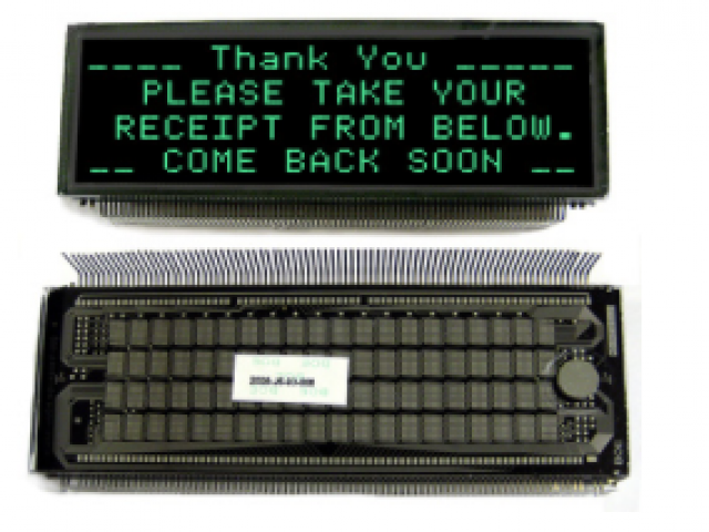 Newhaven Display D0420SD-42-2001FN Newhaven 4 x 20 character (Dot Matrix)   VFD Glass @  and  Interface with  Connector and  Controller. PN - D0420SD-42-2001FN (Product Image)
