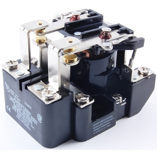 NTE R04-11D30-48 RELAY-48VDC 30 AMP DPDT HEAVY DUTY OPEN FRAME SCREW TERMINALS LONG LIFE CONTACTS PLASTIC BARRIERS (Product Image)