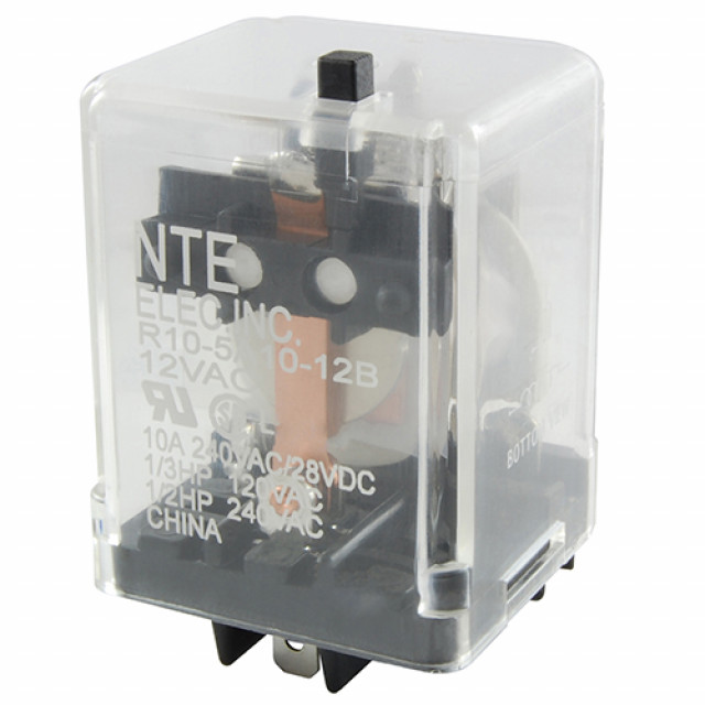 NTE R10-5A10-12B RELAY-12VAC 10AMP SPDT GEN.PURPOSE PUSH TO TEST BUTTON (Product Image)