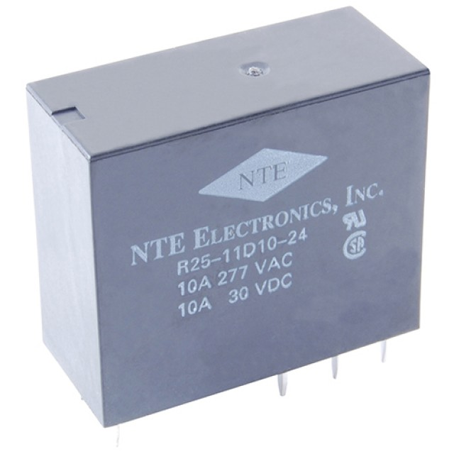 NTE R25-5A16-24 RELAY-SPDT 16AMP 24VAC PC BOARD MOUNT EPOXY SEALED (Product Image)