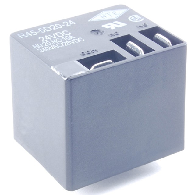 NTE R45-5D20-5/6 RELAY-SPDT 20A 5/6VDC PC BOARD MOUNT .250 INCH TERMINALS ON TOP EPOXY SEALED (Product Image)