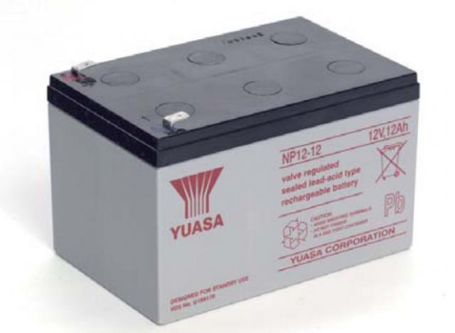 YUASA BATTERY NP12-12FR Yuasa NP Series 12 Volt - 12.0(Ah) Sealed Rechargeable Lead- Acid Battery with 0.250 Faston Terminals. Overall Size 5.94 x 3.86 x 3.84 (LxWxH Inches) & 8.82 Lbs Each. (Product Image)
