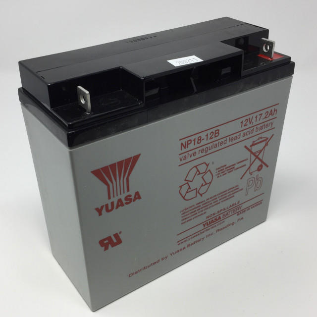 YUASA BATTERY NP18-12B Yuasa NP Series 12 Volt - 17.2(Ah) Sealed Rechargeable Lead- Acid Battery with Bolt Terminals. Overall Size 7.13 x 2.99 x 6.57 (LxWxH Inches) & 13.64 Lbs Each. (Product Image)