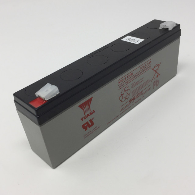 YUASA BATTERY NP2.3-12FR Yuasa NP Series 12 Volt - 2.3(Ah) Sealed Rechargeable Lead- Acid Battery with 0.187 Faston Tab Terminals. Overall Size 7.01 x 1.34 x 2.52 (LxWxH Inches) & 2.07 Lbs Each. (Product Image)