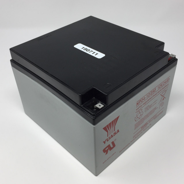 YUASA BATTERY NP24-12-250 Yuasa NP Series 12 Volt - 24.0(Ah) Sealed Rechargeable Lead- Acid Battery with 0.250 Faston Terminals. Overall Size 6.54 x 6.89 x 4.92 (LxWxH Inches) & 19.05 Lbs Each. (Product Image)