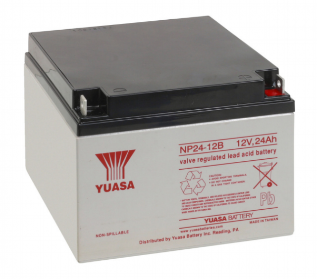 YUASA BATTERY NP24-12B Yuasa NP Series 12 Volt - 24.0(Ah) Sealed Rechargeable Lead- Acid Battery with Bolt Terminals. Overall Size 6.54 x 6.89 x 4.92 (LxWxH Inches) & 19.05 Lbs Each. (Product Image)