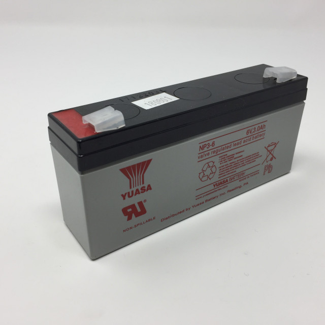 YUASA BATTERY NP3-6 Yuasa NP Series 6 Volt - 3.0(Ah) Sealed Rechargeable Lead- Acid Battery with 0.187 Faston Tab Terminals. Overall Size 5.28 x 1.33 x 2.52 (LxWxH Inches) & 1.43 Lbs Each. (Product Image)