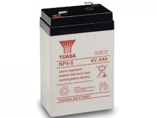 YUASA BATTERY NP4-6 Yuasa NP Series 6 Volt - 4.0(Ah) Sealed Rechargeable Lead- Acid Battery with 0.187 Faston Tab Terminals. Overall Size 2.76 x 1.85 x 4.15 (LxWxH Inches) & 1.87 Lbs Each. (Product Image)