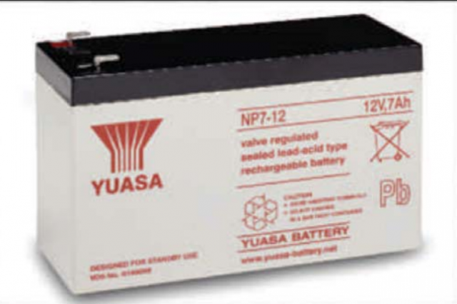 YUASA BATTERY NP7-12 Yuasa NP Series 12 Volt - 7.0(Ah) Sealed Rechargeable Lead- Acid Battery with 0.187 or 0.250 Faston Terminals. Overall Size 5.94 x 2.56 x 3.84 (LxWxH Inches) & 6.17 Lbs Each. (Product Image)