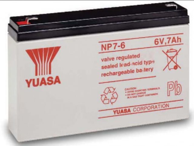 YUASA BATTERY NP7-6 Yuasa NP Series 6 Volt - 7.0(Ah) Sealed Rechargeable Lead- Acid Battery with 0.187 or 0.250 Faston Terminals. Overall Size 5.95 x 1.33 x 3.84 (LxWxH Inches) & 2.98 Lbs Each. (Product Image)