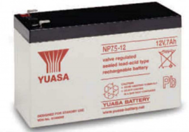 YUASA BATTERY NP7.5-12 Yuasa NP Series 12 Volt - 7.5(Ah) Sealed Rechargeable Lead- Acid Battery with 0.187 or 0.250 Faston Terminals. Overall Size 6.34 x 2.56 x 3.84 (LxWxH Inches) & 6.17 Lbs Each. (Product Image)