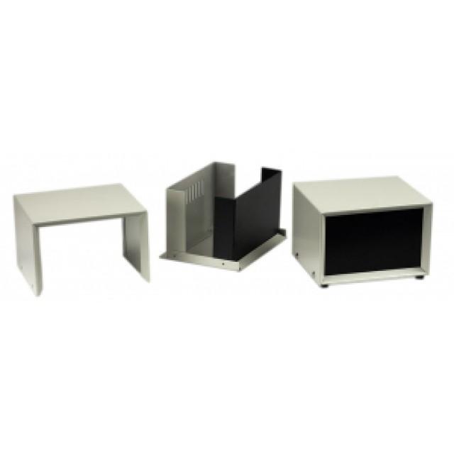 Hammond Mfg. 1426Q enclosure - beige w/ vented bottom; black front panel (11 x 11.7 x 5.5) (Product Image)