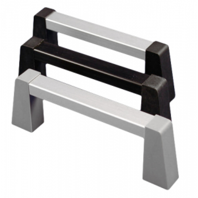 "Hammond Mfg. 1427GBB handle - aluminum; 3"" mounting centers. 1.64"" high. Black handle & posts. (Product Image)"