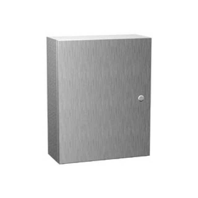 Hammond Mfg. EN4SD161610S16 Hammond 16.00 x 16.00 x 10.00 Type 4X Stainless Steel Wallmount Enclosure. UL 508 Type 3R, 4, 4X and 12 & NEMA 3R, 4, 4X, 12 and 13 - IP66 (Product Image)