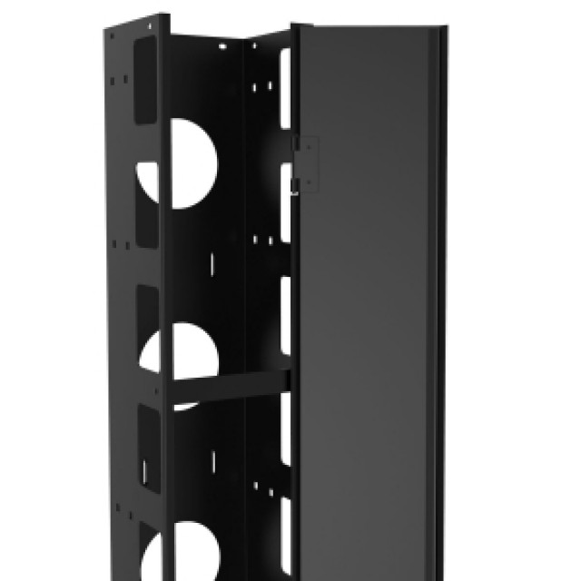 "Hammond Mfg. RRCM848UD 48U Heavy Duty 8"" Wide by 6"" deep vertical cable manager with hinged door (Product Image)"