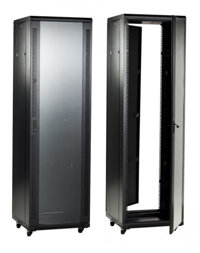 "BUD BRP-12206 BUD Professional Series 70"" (40 U) Height Rack with Tempered Glass Door. 19"" Panel width and 23.62"" Depth. (Series Image)"