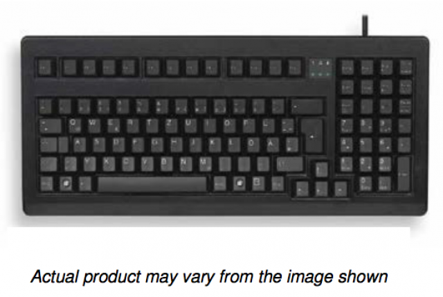 """Cherry G80-1800LPCEU-2 Black, 16"""" USB/PS2 combo interface, with 104 key US Intl layout and Black MX gold crosspoint keyswitches with linear feel  (Series Image)"""