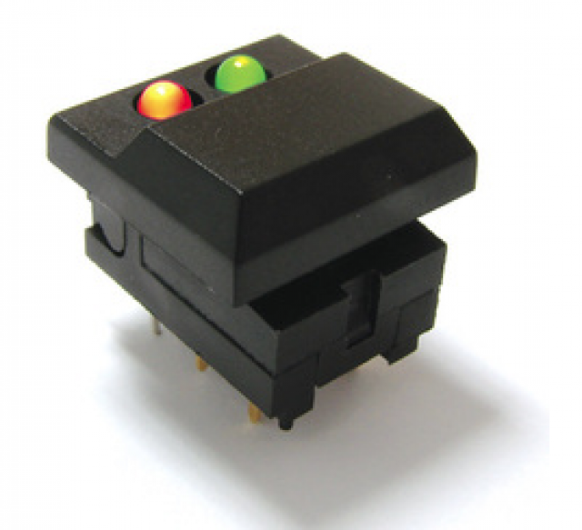 E-Switch 5501M133 Mini Pushbutton Small Cap 12.3mm switch Black and Yellow LED POS 1 and Yellow LED POS 2 (Series Image)