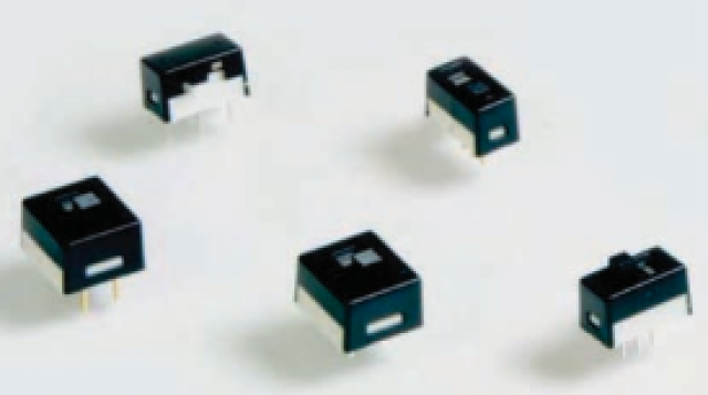 E-Switch 600DP3S3M2Q On-Off-On slide switch PC Pin DPDT (0.100) Silver contacts and Side actuator. DPDT Switch Function. (Series Image)