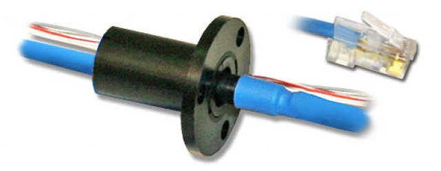 "MOOG SRA-73798C Slip Ring 1000 Base-T Ethernet + 2 x 2 amp Circuits with 48"" Leads (Series Image)"