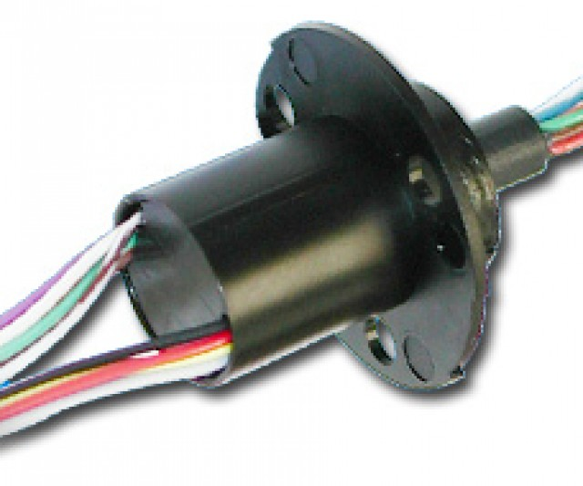 MOOG AC6310-6BS Moog compact Capsule Slip Ring with 6 x 10 Amp / 240VAC  circuits and precision ball bearing design and gold contacts. This capsule is Plastic with Overall Dims of Flange Dia. 1.75 - Capsule Dia 0.87 -   Capsule Depth 1.375 - Overall length 1.943 and has 36 Inch Lead Length wires.Operating Speed up to 250 RPM Dust Seal Flanged (Item Group Image)